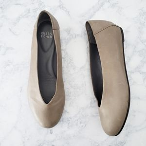 Eileen Fisher Patch Ballet Flat Taupe/Gray  SZ 7.5